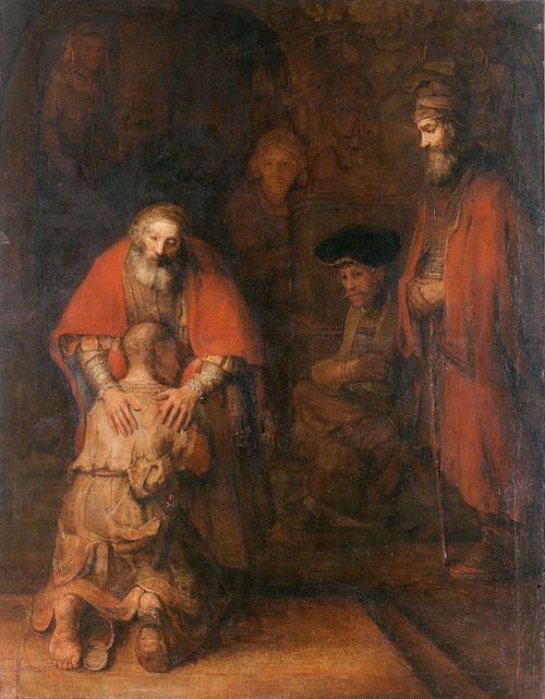 Rembrandt,El regreso del Hijo pródigo.Óleo sobre lienzo1662.Barroco.262X205cm.Museo del Hermitage.San Petersburgo.Rusia.Momento cumbre de la misericordia y el perdón que a través de este símbolo universal, el autor trasciende un momento difícil de su vida
