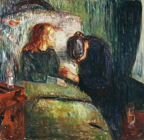 La niña enferma,1907.La estética de la muerte, muy arraigada en la cultura de fin de siglo XIX,toda una metáfora del mundo, según los simbolistas franceses y alemanes, todo un recuerdo de la enfermedad temprana de Sophie,varios de sus familiares murieron.
