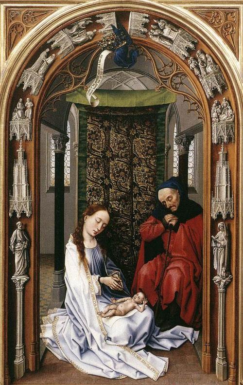 En el primer panel, de la Encarnación, Maria viste de blanco virginal mientras sujeta al niño en su regazo, fruto de su vientre.En los pórtico arquitectónicos como función de enmarque, encontramos a los evangelistas,S Pablo y S Pedro