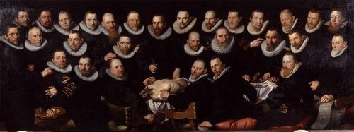 Aert Pietersz 1603.Lección de anatomía del doctor Sebastian Egbertsz.Óleo sobre lienzo 147cmx392cm.Amsterdam Museum. Hombres de jubón negro y porte erguido, vestimenta preferida de las clases mas elevadas y burguesas que revisten sosiego y gravedad.