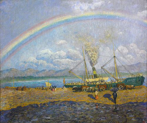 Aguacero en la Bahía de Santoña,1900.Óleo sobre lienzo.70x90cm.Museo Nacional de Arte de Cataluña.Barcelona.