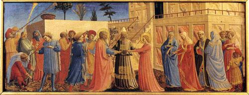 Desposorios de la Virgen, formaba parte de la predela del Paraiso.El rabino coloca sus manos sobre José y María,extienden sus manos para la colocación de anillos,de la vara de José florecen ramas y se posó una paloma recibió la señal  (Leyenda Dorada)