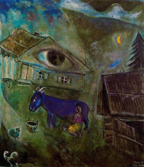El ojo verde 1944.Colección privada...Este ojo que traduce profundidades y recuerdos de su tierra natal...Verde veronés o esmeralda, verde que recuerda al de las hojas en primavera o denso y frondoso del arbol en pleno verano..la luna, el gallo y su madre