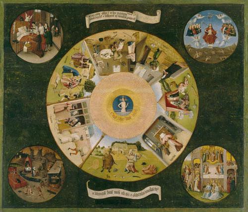 """Mesa de los 7 pecados capitales del Bosco representados por el ojo de Dios que todo lo ve:""""Cave,cave,Dominus videt""""Cuidado,cuidado,que el Señor te ve.Escenas de vida cotidiana de P. Bajos advierten de los peligros.Alrededor:Muerte,Juicio,Infierno y Gloria"""