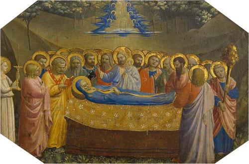 5- Dormición de la Virgen.Temple al huevo, plata y oro labrado sobre tabla de chopo.