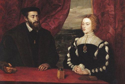 Rubens, Carlos V y la emperatriz Isabel,1628. Óleo sobre lienzo.114x166cm. Palacio de Liria. Ambos de tres cuartos de perfil y un reloj símbolo del tiempo que los separa y los puede reunir, pues hacía 9 años que la emperatriz había muerto.