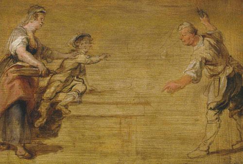 Boceto cria,niño y cocinero junto una mesa.1635.Óleo sobre tabla.19x18cm.Museum Koninlikj Amberes.Sentada en una mesa apenas esbozada el niño vuelve la mirada hacia la doncella mientras el cocinero trata de echar a un gato.