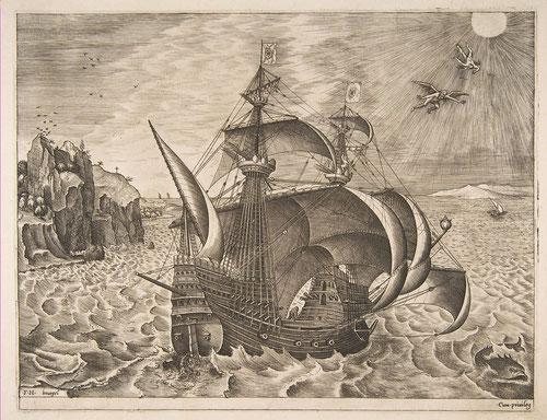 Pieter Brueguel el Viejo y Frans Huys.Buque de tres mástiles armado y la caída de  Ícaro. Aguafuerte y grabado 1561,tinta sobra papel.Colección privada. Este es un claro ejemplo de economía colaborativa una vez que murió el padre, su hijo los termina