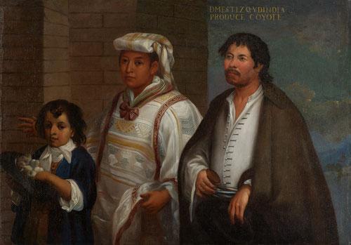 Mestizo de ascendencia europea y amerindia se casa con mejicana con pañuelo en la cabeza y su hijo recibe el apelativo de coyote.