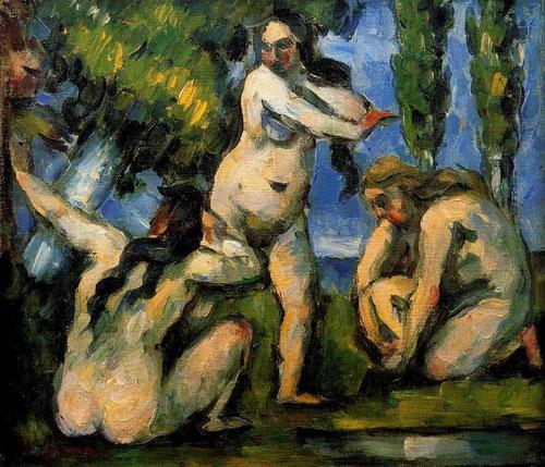 Paul Cézanne.Tres bañistas,1874-75.Óleo sobre lienzo.19x22cm.Musée d´Orsay,Paris.La cabeza de un intruso asoma entre la vegetación, donde su gesto se ha reducido a la mínima expresión, camuflado entre los árboles, las mujeres se agitan y huyen.