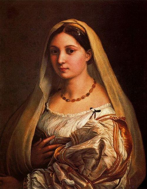 La Donna Velata-1512-18.Óleo sobre lienzo. 82x60cm. Palacio Pitti El mas grande retrato femenino de impresionante belleza, obra maestra de Rafael.No conocemos con certeza la identidad de la dama.