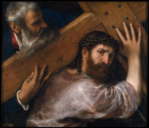 Tiziano,Cristo con la cruz a cuestas,hacia 1565.Óleo sobre lienzo,67x77cm.Colección Real.