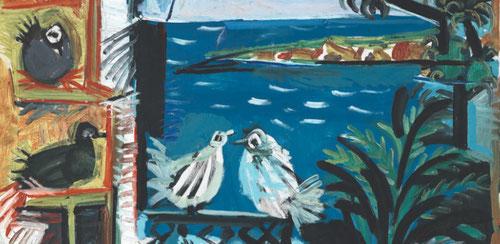 Pablo Picasso.Los pichones,Cannes 1957.Óleo sobre lienzo.100x81cm.Museo Picasso, Barcelona. Tanto la vegetación como el entorno resultan un estímulo para el artista en esta búsqueda de la corporeidad clásica.