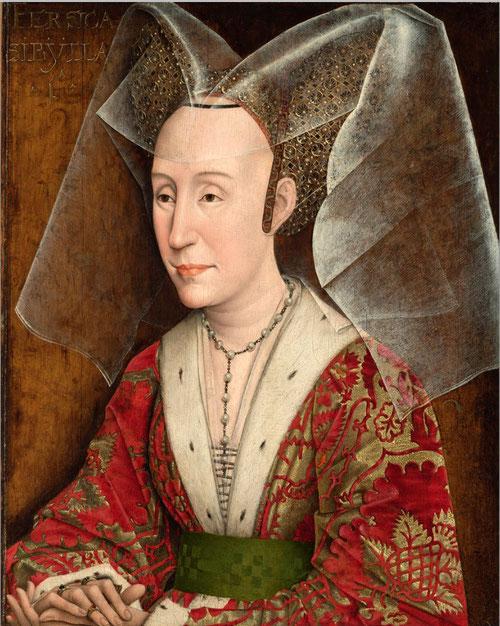 Tercera esposa de Felipe el bueno, hija de Juan I de Portugal.1450.Óleo sobre tabla de roble,46x36cm,Los Angeles Paul Getty Museum.