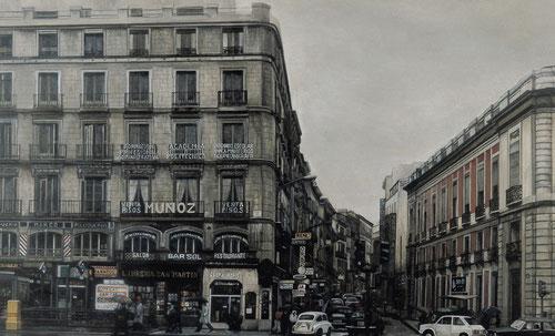 Amalia Avia.Puerta del Sol, 1979.öleo sobre tabla 120x240cm.Colección AENA de Arte Contemporáneo.Madrid.