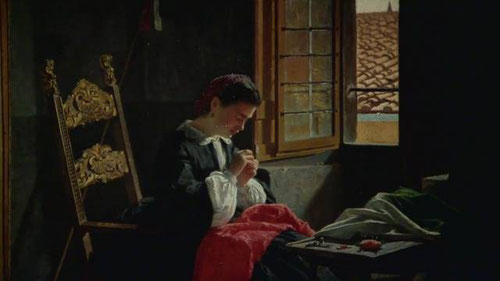 O Borrani, 26 de abril de 1859 en Florencia.75x58cm.Este era el compromiso con la unidad de Italia, muchacha cosiendo la bandera, todo un ideal patriotico que se difunde a burgueses y clases obreras.