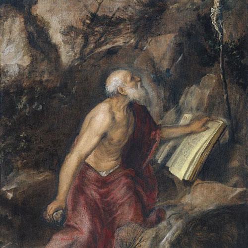 """Tiziano.Jerónimo penitente 1575. Óleo sobre lienzo.137x97cm.Museo Thyssen. Toda una forma expresionista de """"manchas distantes"""" una relación empática para conmover al espectador. Realizada con habilidad y maestría."""