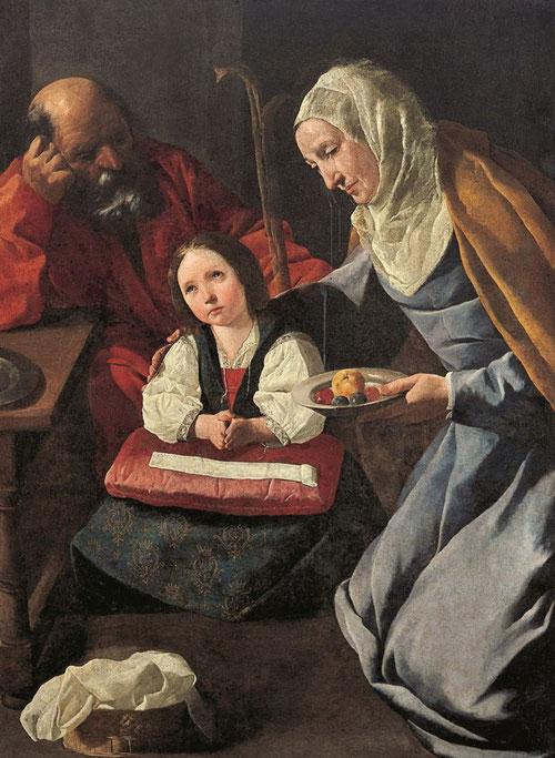 Francisco de Zurbarán.La familia de la Virgen,1630-35.Óleo sobre lienzo,127x107cm.Col.Abelló.Escena de gran intimidad familiar con la niña flanqueada por San Joaquin y Sta Ana,instantes previos a la presentación en el Templo.