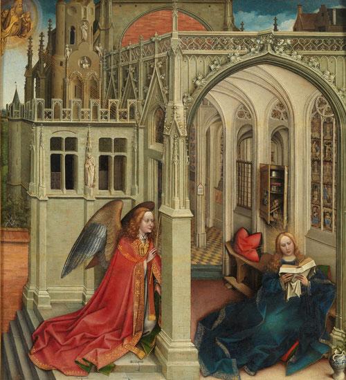 La Virgen sentada en el suelo inmersa en su lectura,no parece advertir la llegada del ángel que lleva ropas sacerdotales.La escena se enmarca en una mejestuosa catedral gótica cuyas vidrieras cont.episodios del A.T. Moises con las tablas de la Ley.