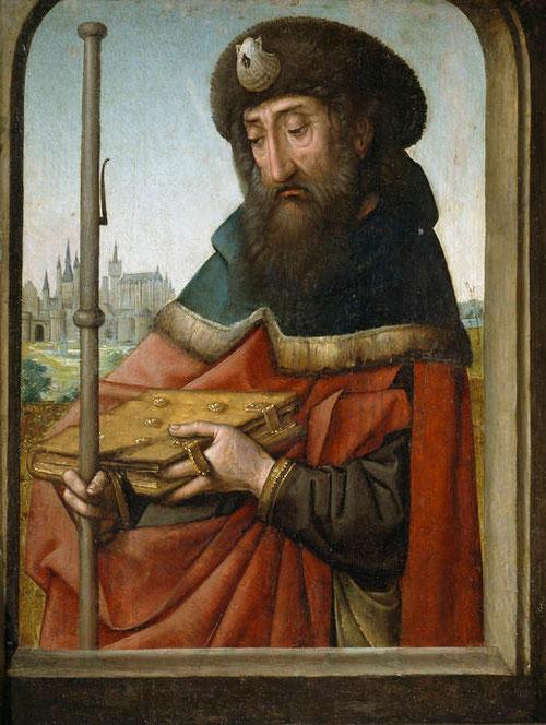 Juan de Flandes,Santiago peregrino.1507.Óleo sobre tabla,49x37cm