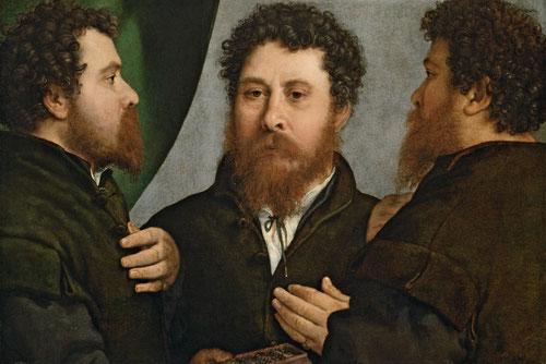 Triple retrato d platero ¿Bartolomeo Carpan? 1530.Óleo 52x79cm.Viena Kunsthistiriches.Llama poderosamente la atención por su inusual representación desde tres puntos de vista,frente, tres cuartos y riguroso perfil,con ayuda de un espejo.