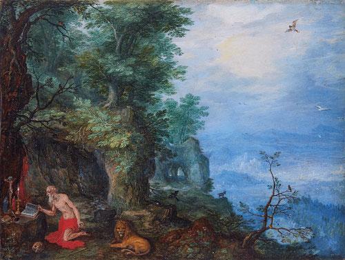 Jan Brueghel el Viejo.San Jerónimo en la Naturaleza.1597-1600.Óleo sobre cobre.11x14cm.Colección privada en España.