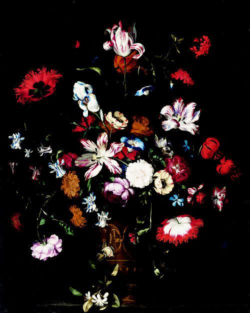 Jan Pieter Brueghel, Naturaleza muerta de flores.1661.Óleo sobre lienzo.97x78cm.Colección privada, Gante. El entusiasmo popular por las nuevas semillas llegadas de América y Oriente  asi como atribuir simbólicamente significados metafóricos de opulencia.