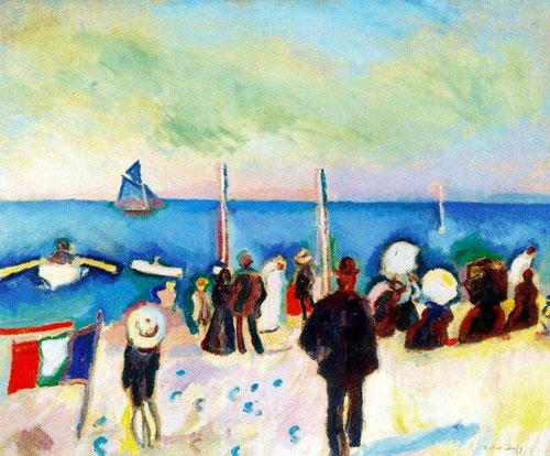 """Raoul Dufy.La playa de Saint Adresse 1906.Colección Fundación  Triton. Fue un vanguardista fascinado por Matisse y Cézanne. """"El color es para mis ojos, generador de luz""""."""