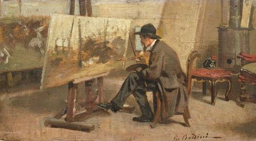 G Boldini, G. Fattori en su taller, 1866.Óleo sobre tabla.13x24cm.Galeria de Milán. Los machiaioli simplifican la visión tradicional eliminando perspectivas escenográficas.