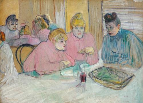 Esas damas en el comedor, de toulouse Lautrec en la que el pintor experimenta con un complicado juego de espejos, tres de ellas charlan de frente a nosotros, otra se refleja.