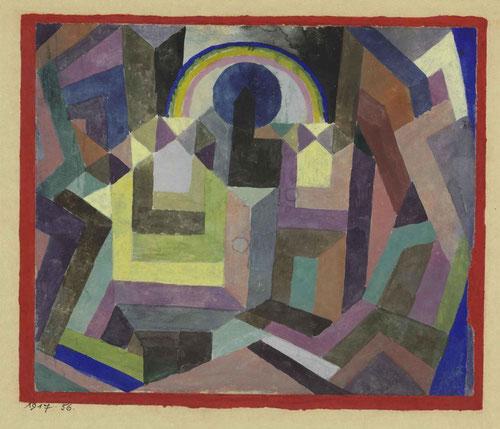 Paul Klee,1917. Con el Arco Iris. Mezcla de inocencia infantil y complejidad intelectual. Maestro de la Bauhaus,escuela de diseño, arquitectura e industria fundada en 1919.Eje en movimiento circular determinado por arco iris, sol,iglesia..puro simbolismo.