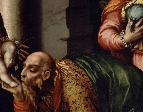 A partir de estampas de Durero,la composición de La Epifanía o Adoración de los Reyes Magos,Melchor se inclina para besar el pie del niño-la postratio- forma bizantina de la oración derivada de rito oriental,iconografía no muy habitual en occidente.