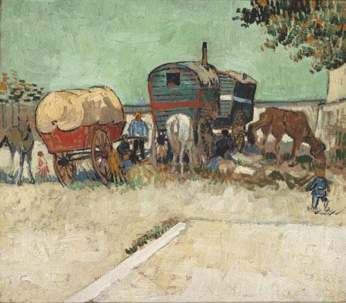 Vincent Van Gogh Las caravanas,campamento gitano cerca de Arlés 1888. Vincent Van Gogh se instala en Arlés alquila allí una casa pintada de amarillo, su color favorito con la intención de convertirla en Taller del Sur.
