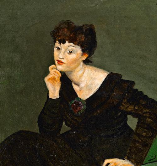 André Derain.Isabel Lambert,1935-1939.Óleo sobre lienzo 75x74cm. North Carolina Museum of Art. En 1935 Pierre Colle le pide a Isabel Rawsthorne que posara para Derain antes de que ella se convirtiera en modelo de Giacometti,pintó seis retratos.