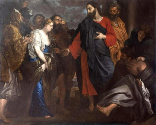Cristo y la mujer adúltera.Anton van Dyck.Hacia 1620-22.Colección BBVA-La escena tomada del evangelio de san Juan 8,1-11.En una encerrona ante los escribas le cuestionan sus enseñanzas pues la ley castigaba  el adulterio, él escribe con su dedo.