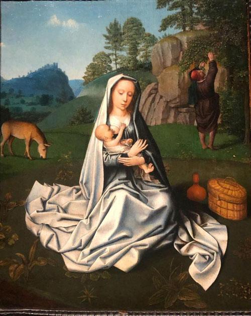 Gerard David.(1460-1523)Descanso en la huida a Egipto.Óleo sobre tabla.45x36cm. Un tema popular que ha sido tratado por varios artistas, destaca la Virgen entronizada alimentando al Niño , mientras José busca fruto de los árboles.