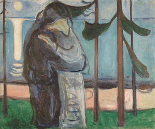 """Beso en la orilla junto a la luz de la luna 1914.""""Dos formas humanas cuyos rostros se han fundido en uno solo"""" Munch"""