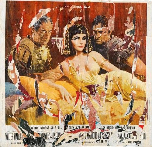 Mimmo Rotella, Cleopatra, 1963. Décollage sobre lienzo 134x137cm.Col privada. Con este majestuoso gran cartel trata a Liz Taylor como reina del Nilo, toda una imagen de la sociedad de consumo.