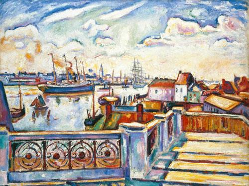 Émile Othon Friesz. Le port d ´Anvers 1906. Colección particular. Braque y Friesz estuvieron juntos pintando Amberes para luego trasladarse a L´Estaque, pequeños pueblos pesqueros.