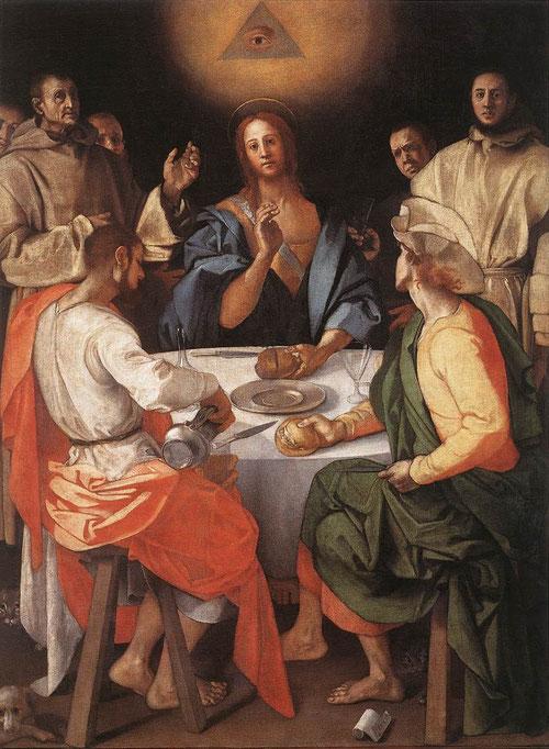 Pontorno, Cena de Emaús. Detalle del triángulo equilatero simbolizando la Trinidad, en este caso con un ojo.