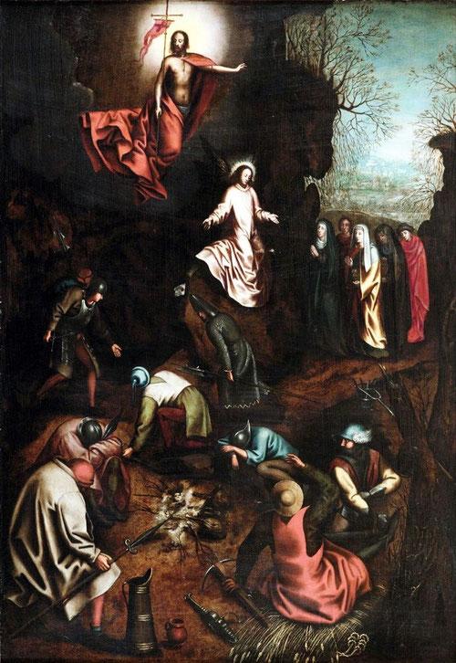 Pieter Brueghel el Viejo y su taller.La Resurrección.Hacia 1563.Óleo sobre tabla.107x73cm. El patriarca de la familia despues de viajar por Italia realizó la mayor parte de sus obras algunas italianizantes, que muestra la soberanía de Cristo.
