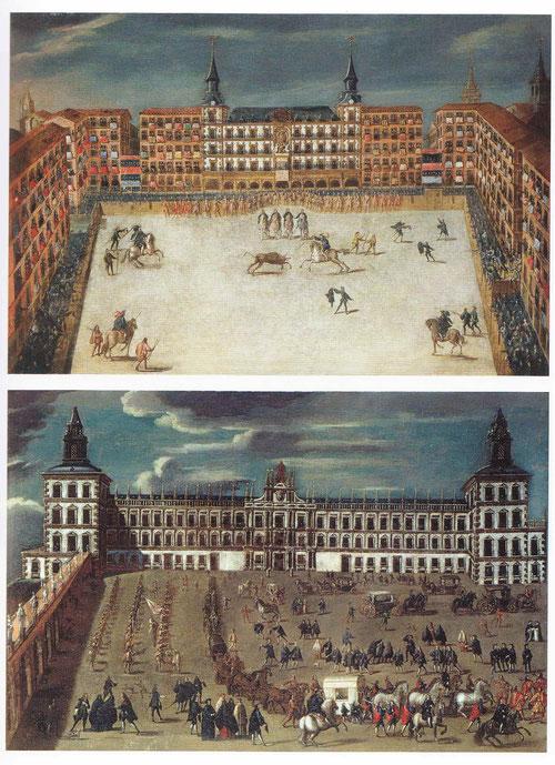 Arriba una corrida de Toros en la Plaza Mayor de Madrid, 1678, interesante escena de la Villa y Corte, reinando Carlos II.El público abarrota los balcones. Abajo Vista del cortejo de Carlos II en el Alcázar de Madrid, 1677 todo un testimonio iconográfico.