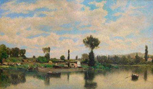 Martín Rico.Establecido en Francia se aplicó a paisajes fluviales,conoció a Fortuny.Captación de la atmósfera,el movimiento de las nubes se relaciona con una corriente naturalista.