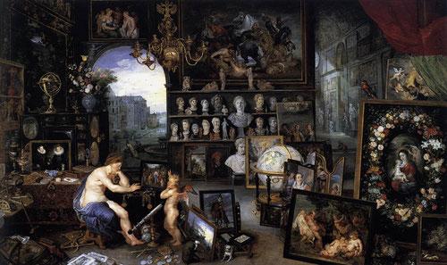 Pedro Pablo Rubens y Jan Brueghel el viejo, La Vista.Óleo sobre tabla.64x109cm.Colección Real. Cuadro de gabinete perteneciente a la serie Los cinco sentidos, creada para los archiduques Alberto e Isabel Clara Eugenia.