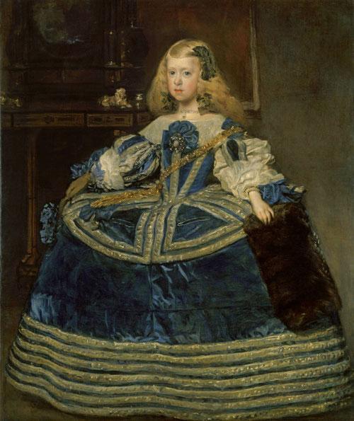 """La infanta Margarita en traje azul,Velázquez,1659.Kunsthistorisches Museum Viena. Predomina el azul en sus diferentes texturas, un color nada utilizado por Velázquez """"Majestad y hermosura original"""" un gran guardainfante, enmarca la pared del fondo."""