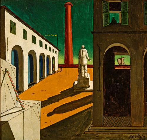 """Giorgio De Chirico.Enigma de la partida.1914. Fondazione Magnam Roca,Mammiano di Traversetolo.La presencia en Ferrara y sus """" cien maravillas"""",,de arquitecturas mágicas y melancólicas atmósferas marcaron el ritmo del arte Italiano."""