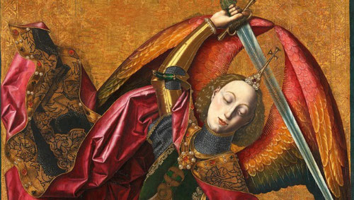 San Miguel Triunfante sobre el demonio con el donante Antoni Joan.1468.Londres National Gallery. La alargada figura del arcangel domina el espacio pictórico, y su expresión serena y digna, no presagia la inminente y violenta acción.