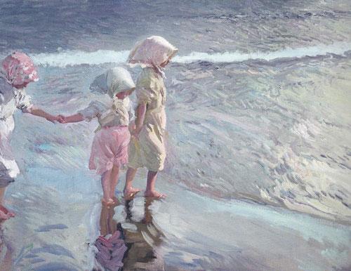 Sorolla.Las tres hermanas en la playa.Valencia.1908.Óleo sobre lienzo.94x113cm.Colección particular.Clara influencia de la fotografía desplazando a las hermanas a la izquierda.