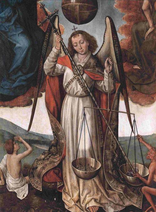 """Arcángel S.Miguel realiza la """"psicostasis"""" o el pesaje de las almas con su balanza y dos platillos.Es la representación iconográfica de la salvación o condenación.Parece que el demonio quiere engañar pero es la sentencia inapelable de la justicia divina."""