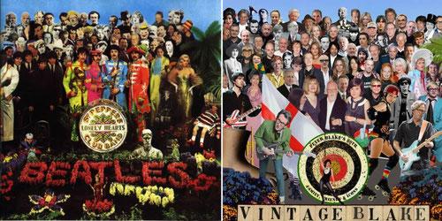 Gracias a las nuevas técnicas digitales, Blake a sus 80 años reeditó una de sus obras más icónicas,portada del disco de los Beatles,Sgt,Pepper´s 1967 con Monroe,Dietrich,Freud,MBrando,con Amy Winehouse,Foster o K Moss haciendo gala de la cultura británica